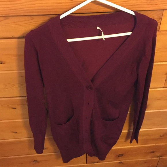 1ce83d6803 debut Sweaters - Burgundy Cardigan Sweater w  Pockets (Fall Winter)
